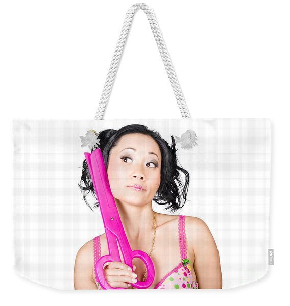 Young Woman Barber Holding Large Pink Scissors Weekender Tote Bag