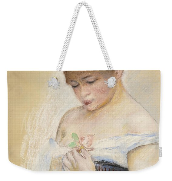 Young Woman Holding A Flower. Portrait Of Jeanne Samary Weekender Tote Bag