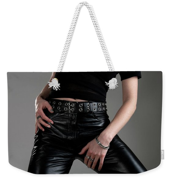 Young Woman In Black Leather Pants Weekender Tote Bag