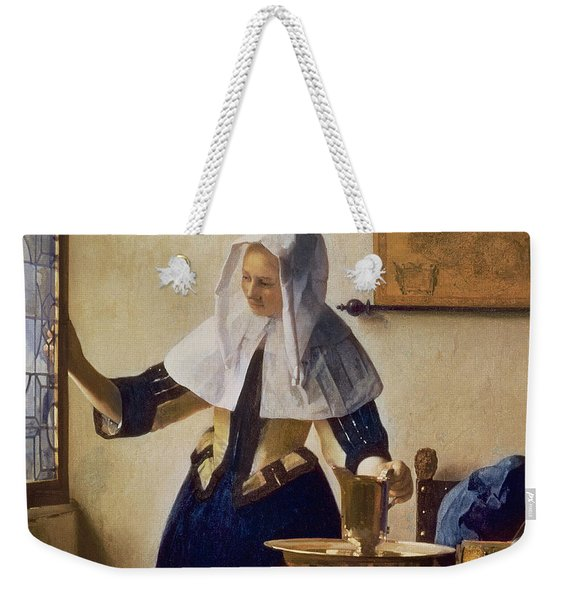 Young Woman With A Water Jug Weekender Tote Bag