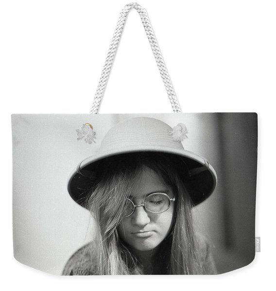 Young Woman With Long Hair, Wearing A Pith Helmet, 1972 Weekender Tote Bag