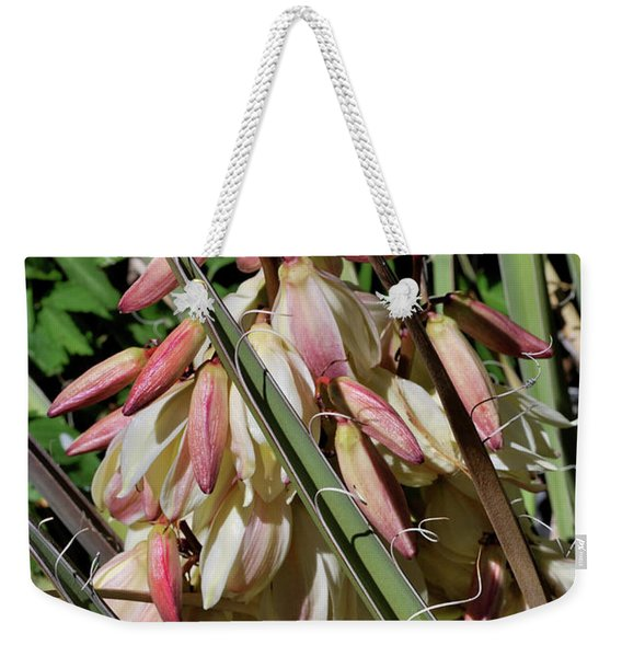 Weekender Tote Bag featuring the photograph Yucca Bloom I by Ron Cline
