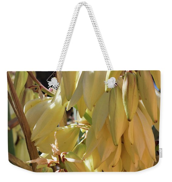 Weekender Tote Bag featuring the photograph Yucca Bloom II by Ron Cline