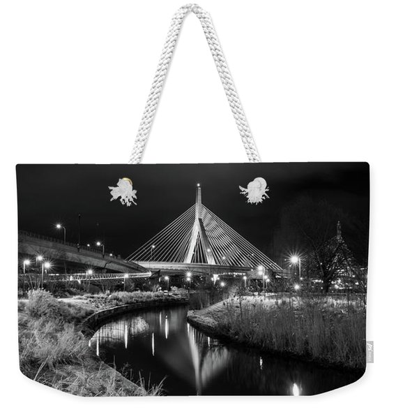 Zakim Bridge Reflecting Under A Moody Sky Weekender Tote Bag