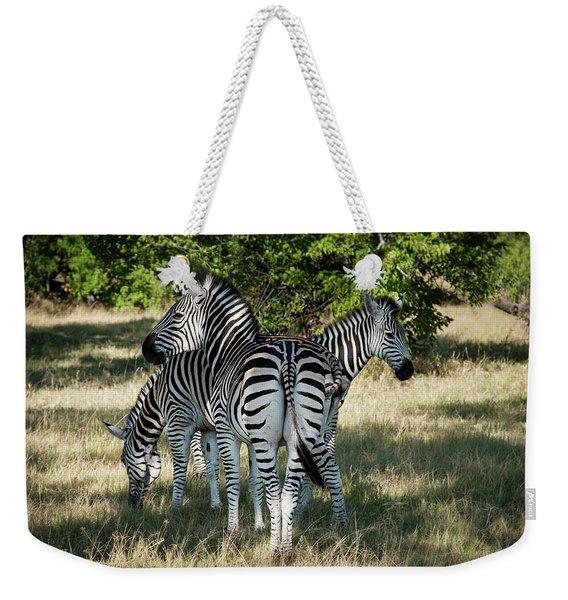 Three Zebras Weekender Tote Bag