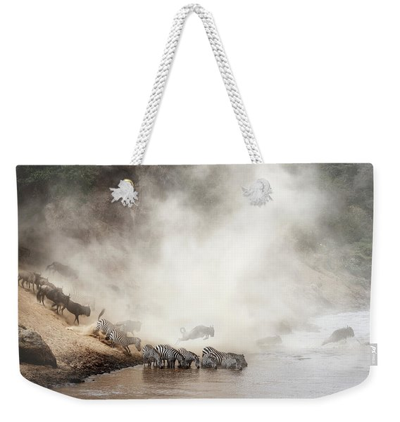 Zebra And Wildebeest Migration In Africa Weekender Tote Bag
