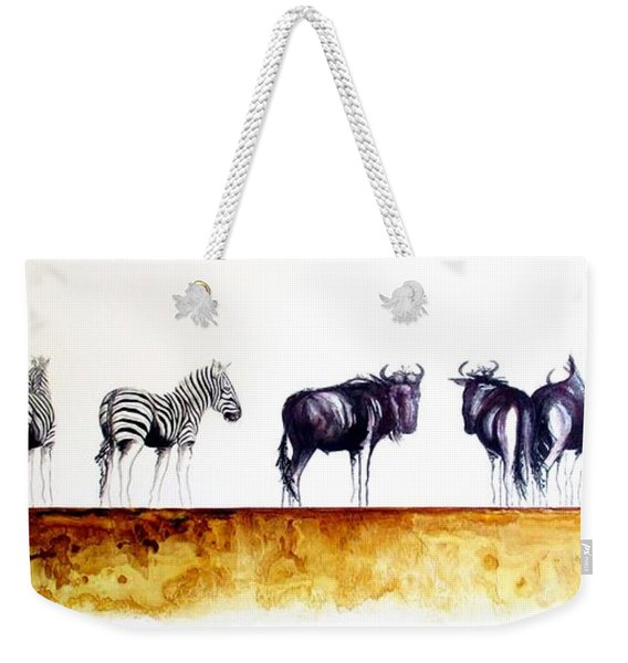Zebra And Wildebeest Weekender Tote Bag