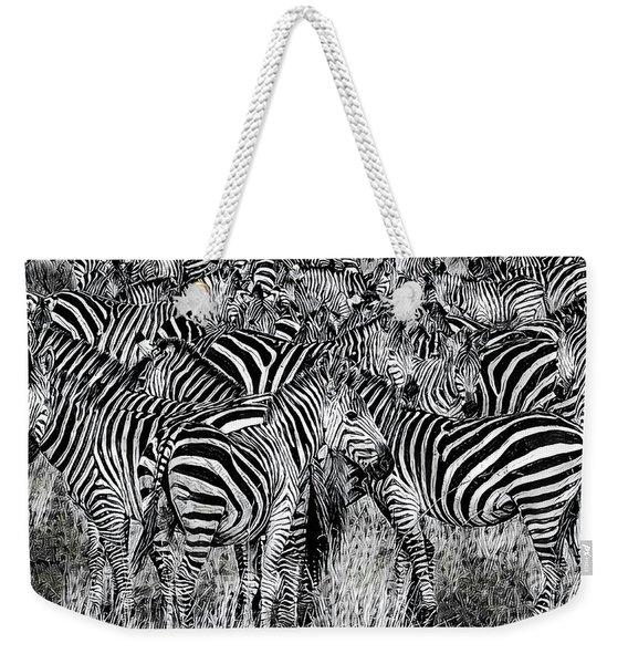 Zebra - Black And White Weekender Tote Bag