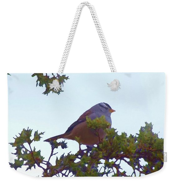 White Crowned Sparrow In Cedar Weekender Tote Bag