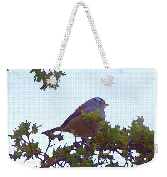 White Crowned Sparrow In Cedar Weekender Tote Bag