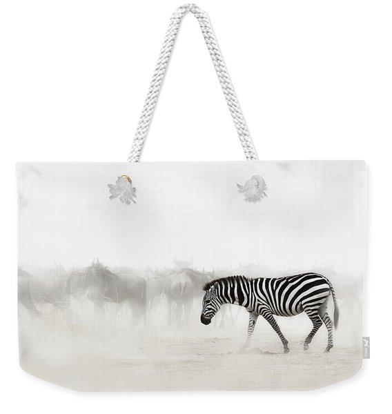 Zebra In Dust Of Africa Weekender Tote Bag