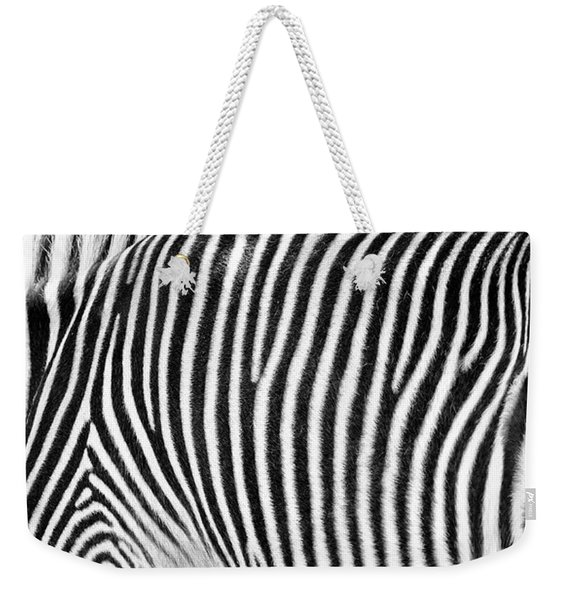 Zebra Print Black And White Horizontal Crop Weekender Tote Bag