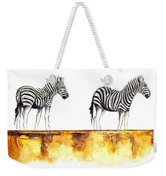 Zebra Trio - Original Artwork Weekender Tote Bag