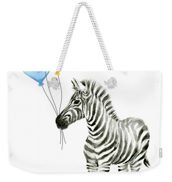 Baby Zebra Watercolor Animal With Balloons Weekender Tote Bag