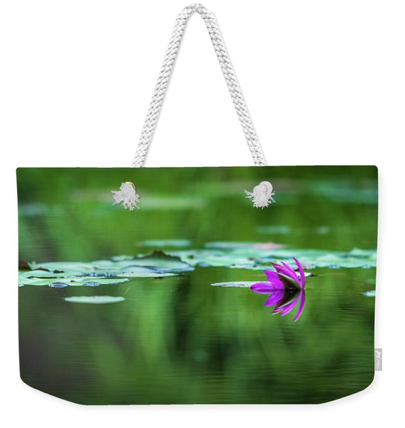 Weekender Tote Bag featuring the photograph Zen Blossom by Laura Roberts