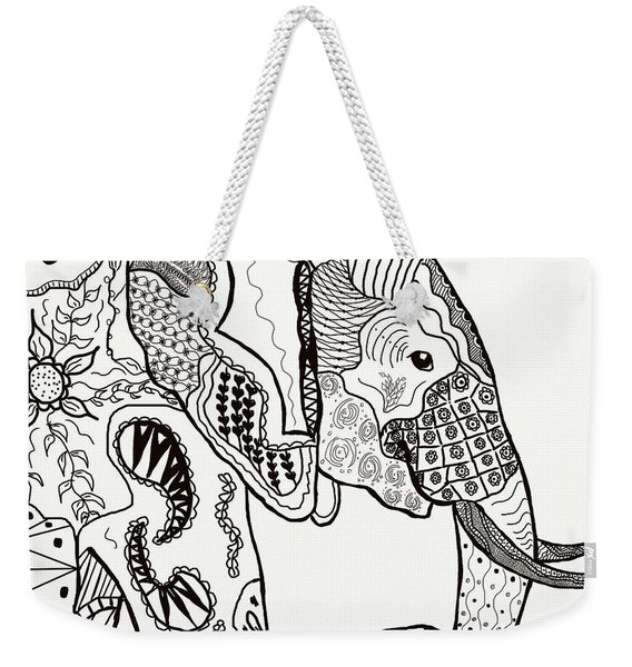 Zentangle Elephant Weekender Tote Bag