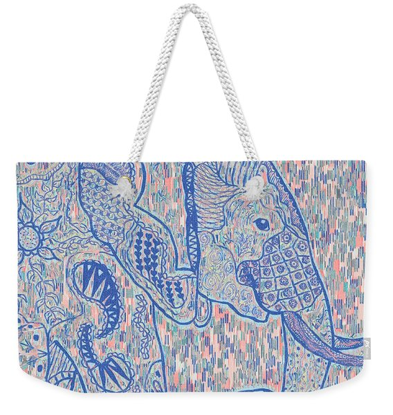 Zentangle Elephant-oil Weekender Tote Bag