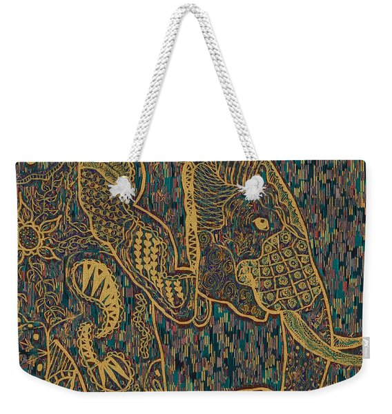 Zentangle Elephant-oil Gold Weekender Tote Bag