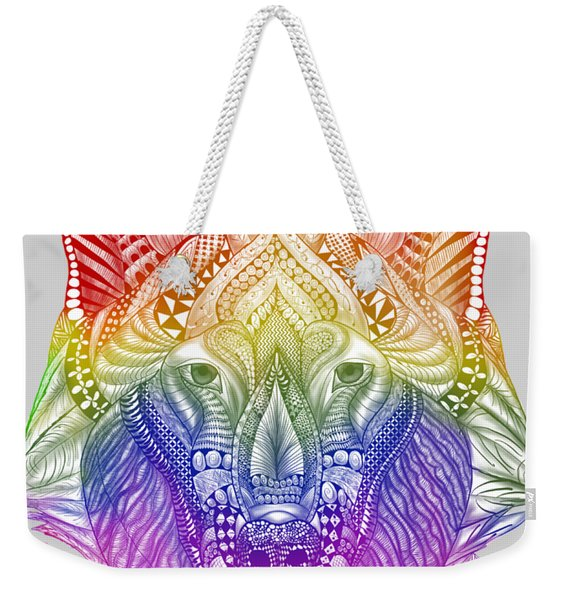 Zentangle Inspired Art- Rainbow Wolf Weekender Tote Bag