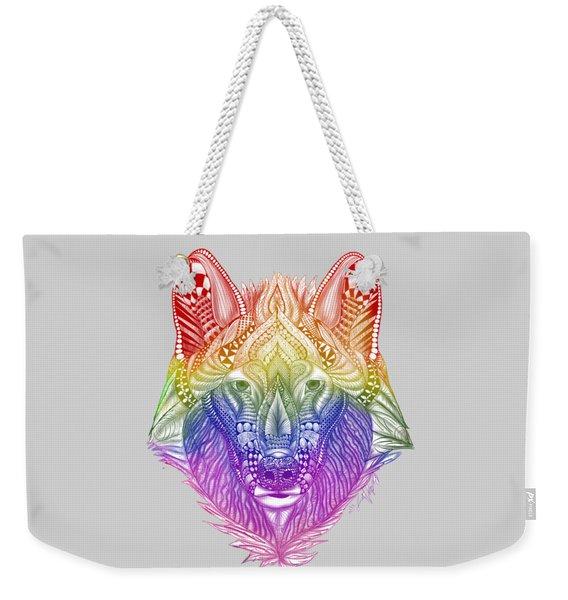 Zentangle Inspired Art- Rainbow Wolf Weekender Tote Bag