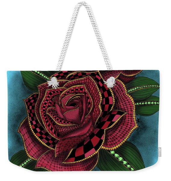 Zentangle Tattoo Rose Colored Weekender Tote Bag