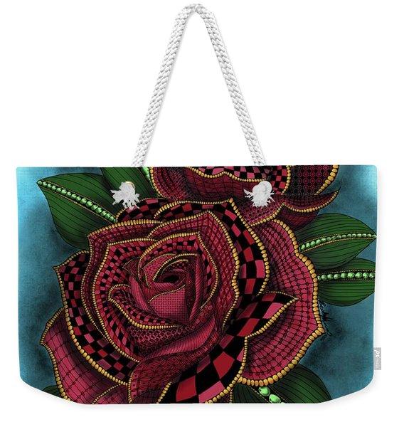 Zentangle Tattoo Rose Colored Weekender Tote Bag