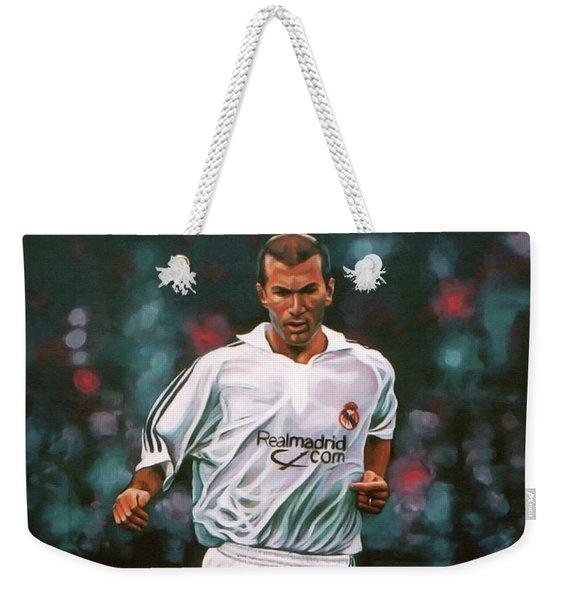Zidane At Real Madrid Painting Weekender Tote Bag