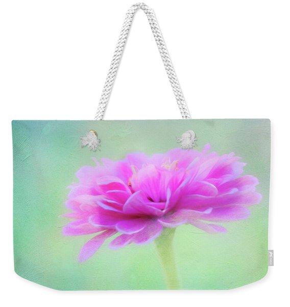 Painted Pink Zinnia Weekender Tote Bag