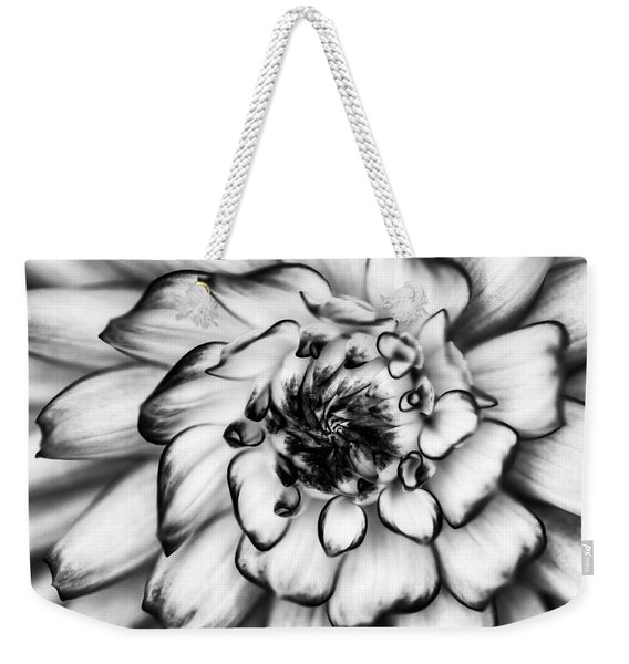 Zinnia Close Up In Black And White Weekender Tote Bag