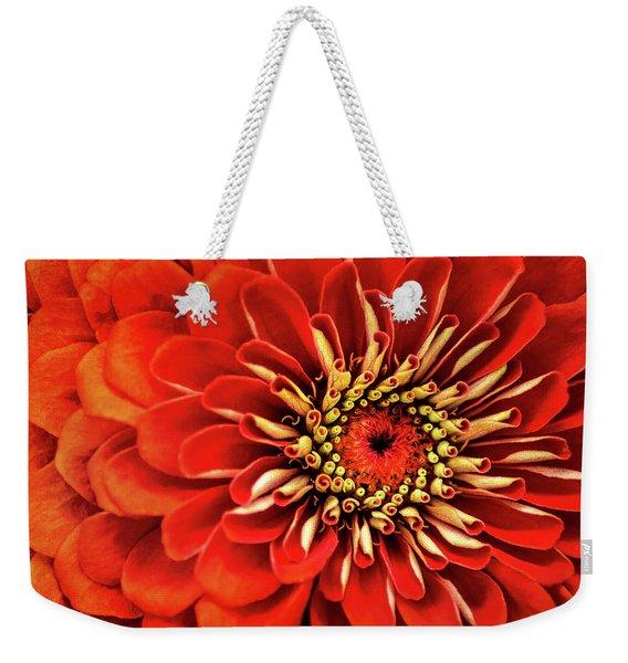 Zinnia-macro Weekender Tote Bag