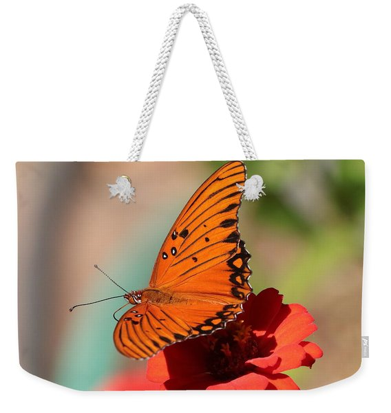 Zinnia With Butterfly 2669 Weekender Tote Bag