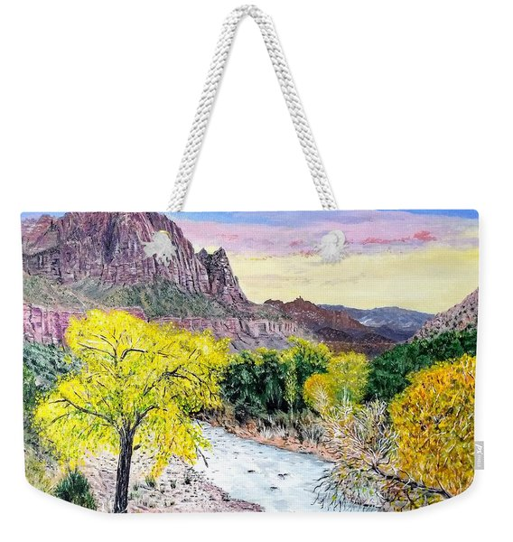 Weekender Tote Bag featuring the painting Zion Creek by Kevin Daly
