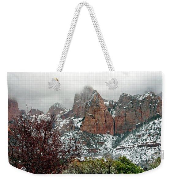 Zion Winter Skyline Weekender Tote Bag