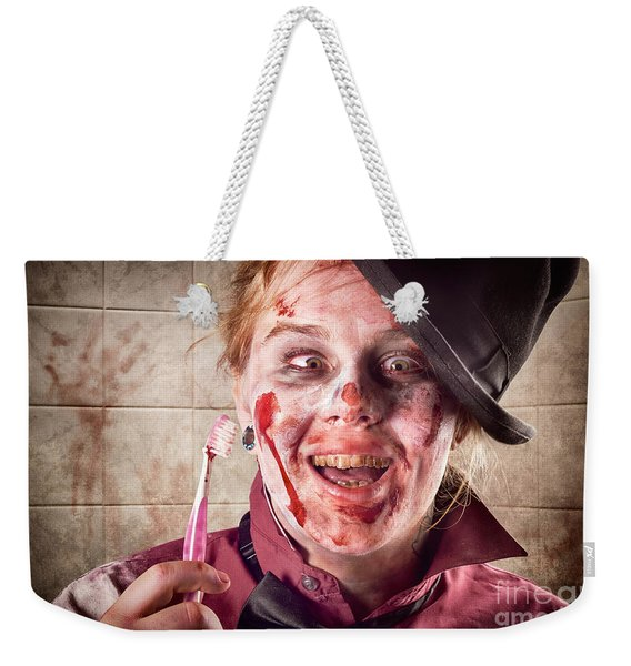 Zombie At Dentist Holding Toothbrush. Tooth Decay Weekender Tote Bag