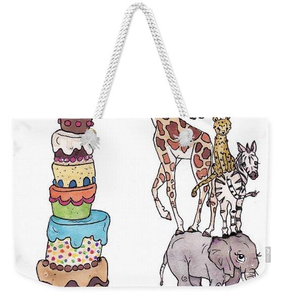 Zoo Animals Happy Birthday Card Weekender Tote Bag