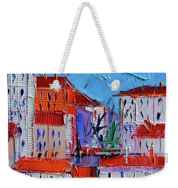 Zoom On Croix-rousse - Lyon France - Palette Knife Oil Painting By Mona Edulesco Weekender Tote Bag