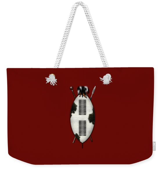 Zulu War Shield With Spear And Club On Red Velvet  Weekender Tote Bag