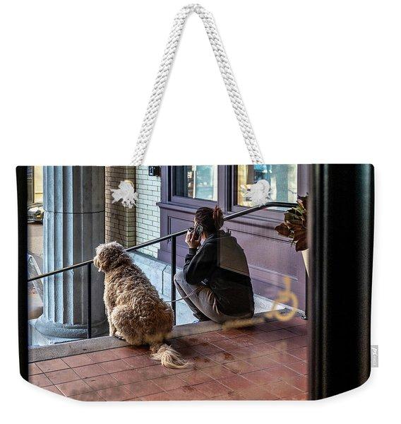 018 - Girl And Dog Weekender Tote Bag