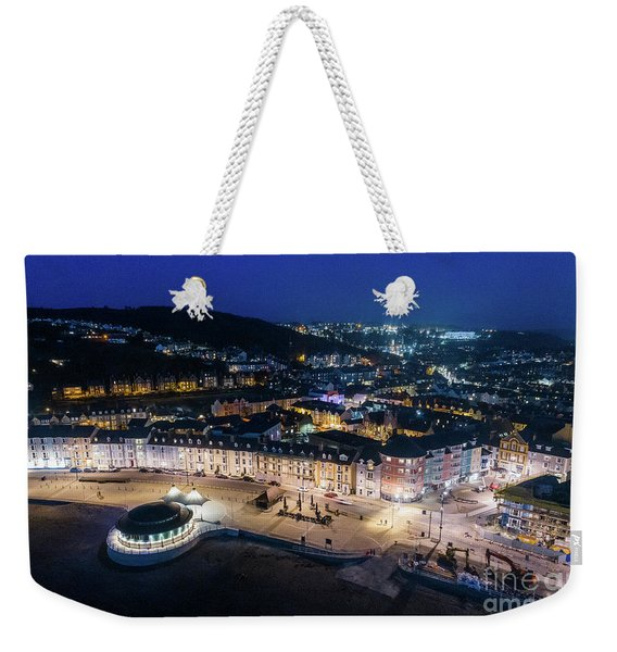 Aberystwyth Wales At Night From The Air Weekender Tote Bag