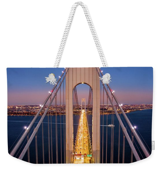 Weekender Tote Bag featuring the photograph Aerial View Of Verrazzano Narrows Bridge by Mihai Andritoiu