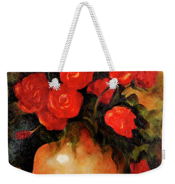 Antique Red Roses Weekender Tote Bag
