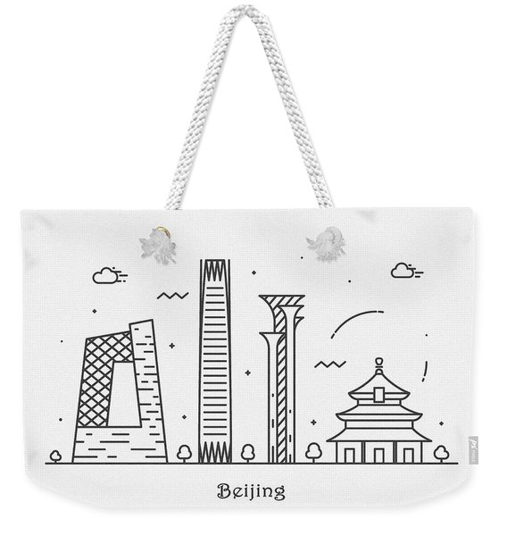 Barcelona Cityscape Travel Poster Weekender Tote Bag