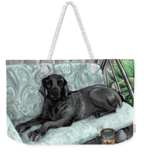 Weekender Tote Bag featuring the digital art Bear In Summer by Lora Serra