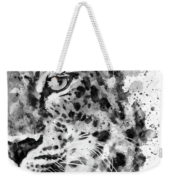 Black And White Half Faced Leopard Weekender Tote Bag
