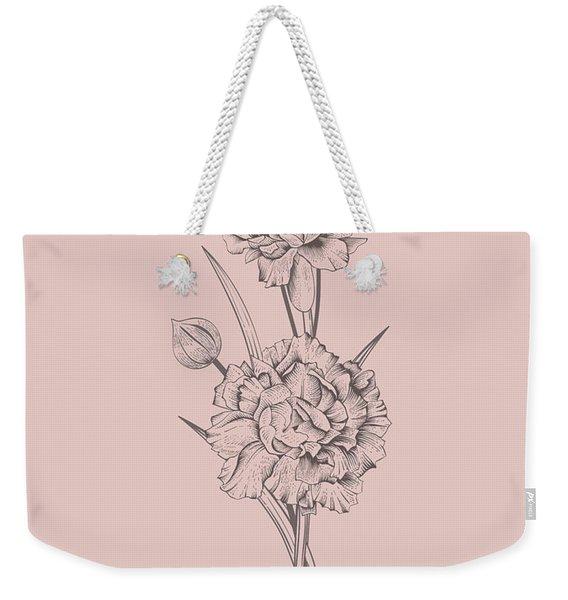 Carnation Blush Pink Flower Weekender Tote Bag
