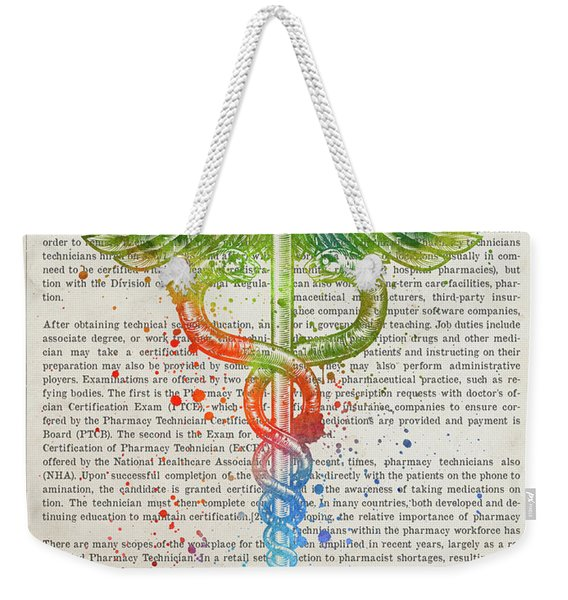 Certified Pharmacy Technician Gift Idea With Caduceus Illustrati Weekender Tote Bag