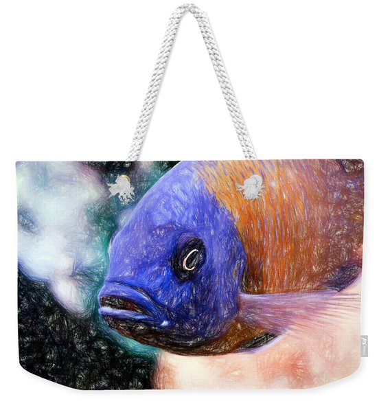 Colored Pencil Red Fin Borleyi Cichlid Weekender Tote Bag