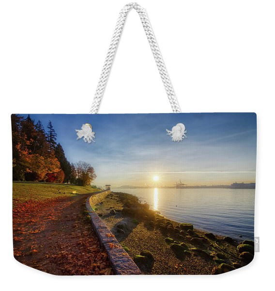 Weekender Tote Bag featuring the photograph Colorful Autumn Sunrise At Stanley Park by Andy Konieczny