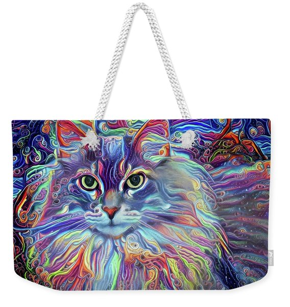 Colorful Long Haired Cat Art Weekender Tote Bag