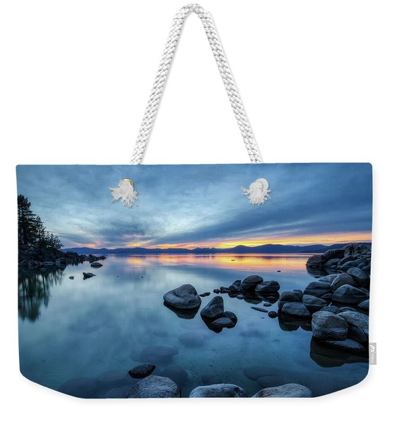 Weekender Tote Bag featuring the photograph Colorful Sunset At Sand Harbor by Andy Konieczny